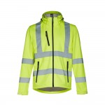 Obrázek THC ZAGREB WORK. Vysoce viditelná softshellová bunda pro muže, se snímatelnou kapucí S - fluorescenční žlutá
