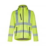 Obrázek THC ZAGREB WORK. Vysoce viditelná softshellová bunda pro muže, se snímatelnou kapucí XXL - fluorescenční žlutá